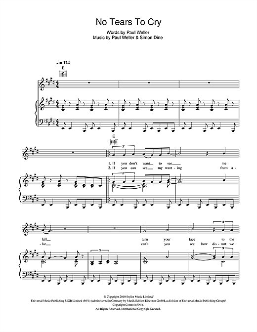 No Tears To Cry Sheet Music