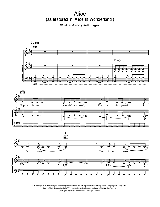 Alice (as featured in 'Alice In Wonderland') Sheet Music
