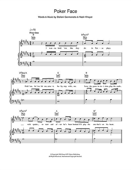 Poker Face Sheet Music