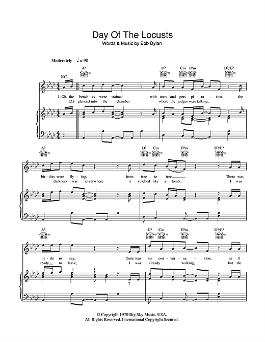 Day Of The Locusts Sheet Music