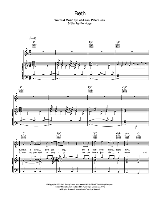 Beth Sheet Music