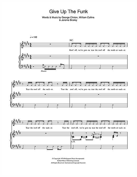 Give Up The Funk (Piano, Vocal & Guitar (Right-Hand Melody))