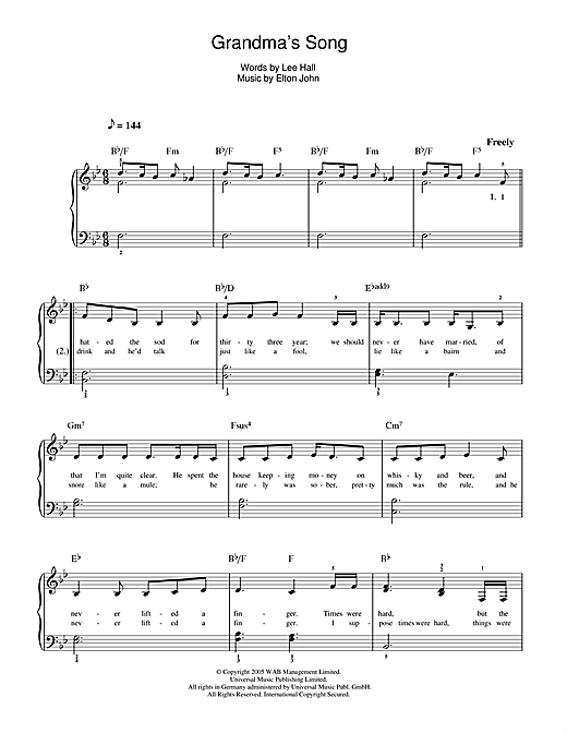 Grandma's Song (from Billy Elliot: The Musical) Sheet Music