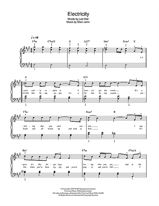 Electricity (from Billy Elliot: The Musical) Sheet Music