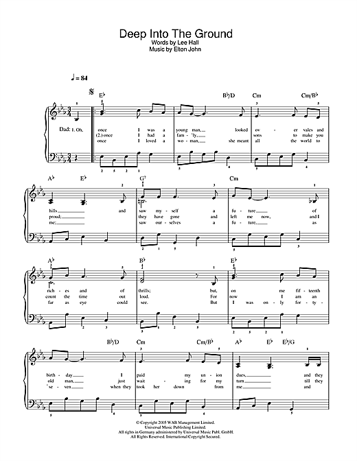 Deep Into The Ground (from Billy Elliot: The Musical) Sheet Music