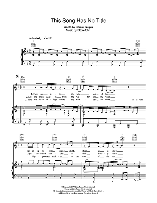 This Song Has No Title Sheet Music