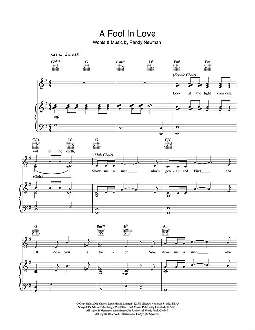 A Fool In Love Sheet Music