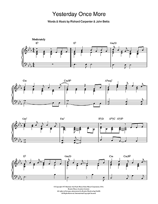 Yesterday Once More (Piano Solo)