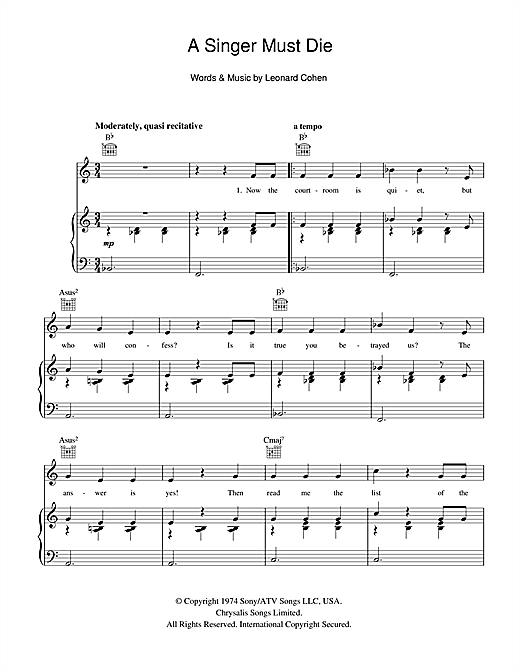 A Singer Must Die Sheet Music