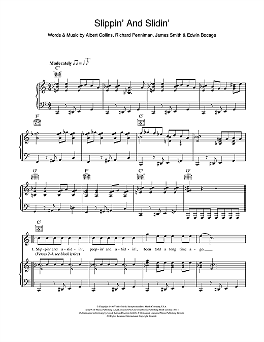 Slippin' And Slidin' Sheet Music