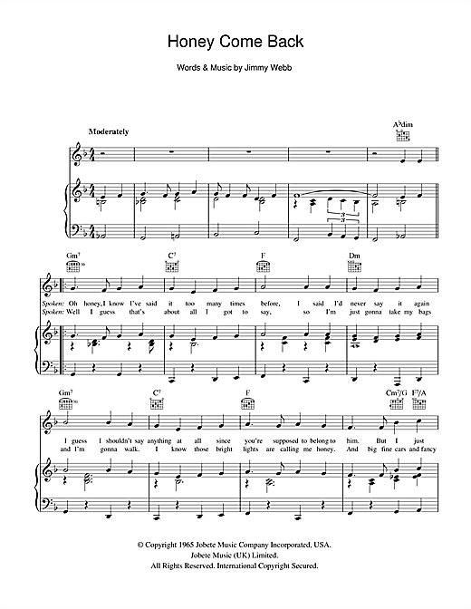Honey Come Back Sheet Music