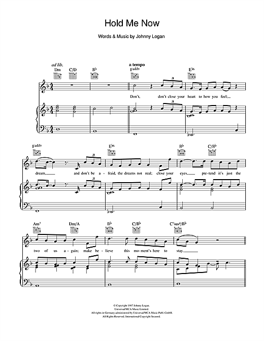 Hold Me Now Sheet Music