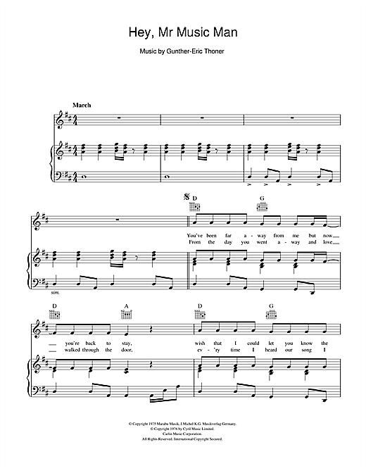 Hey, Mr Music Man Sheet Music