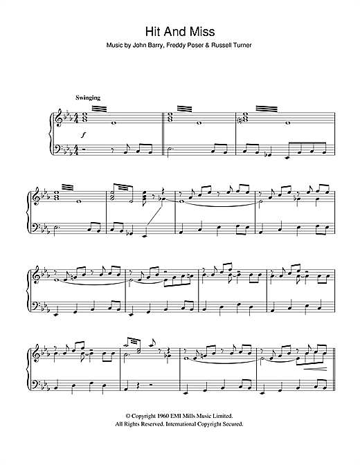 Partition piano Hit And Miss de The John Barry Seven - Piano Solo