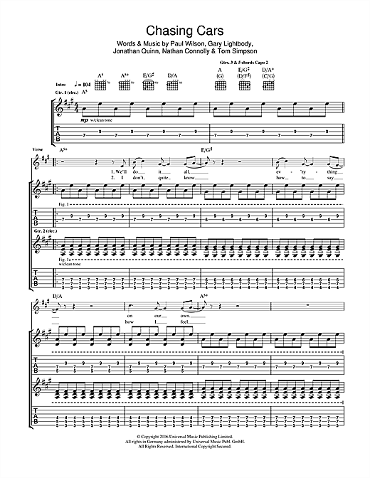 Guitar guitar tablature with lyrics : Chasing Cars Guitar Tab by Snow Patrol (Guitar Tab – 103571)