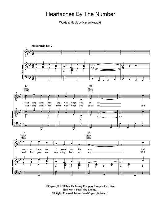 Heartaches By The Number (Piano, Vocal & Guitar (Right-Hand Melody))