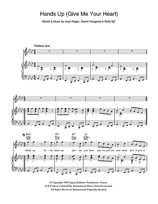 Hands Up (Give Me Your Heart) Sheet Music