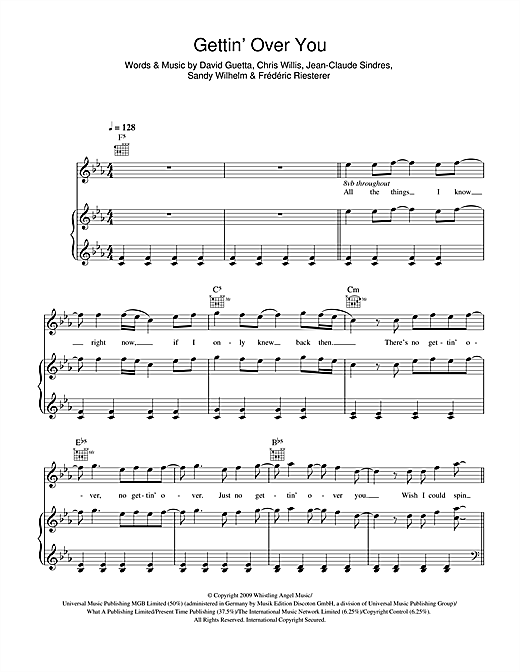 Gettin' Over You (feat. Fergie & LMFAO) Sheet Music