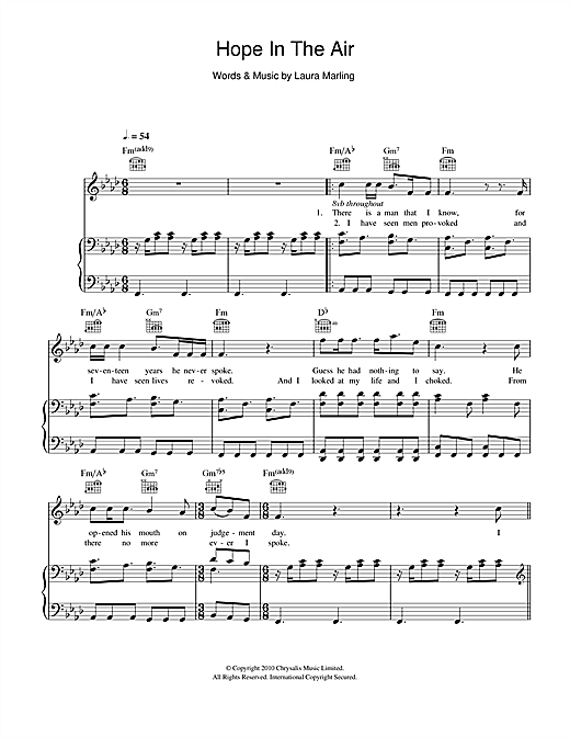 Hope In The Air Sheet Music