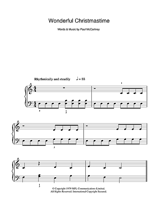 Wonderful Christmastime Sheet Music