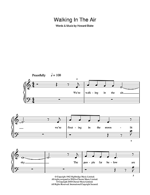 Partition piano Walking In The Air (theme from The Snowman) de Howard Blake - Piano Facile