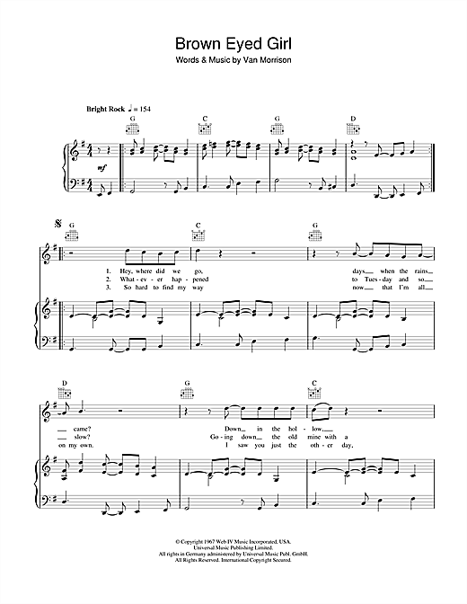Brown Eyed Girl Sheet Music