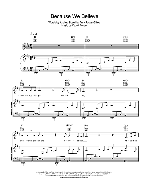Because We Believe Sheet Music