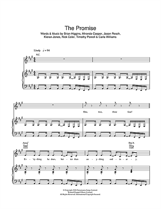 Partition piano The Promise de Girls Aloud - Piano Voix Guitare