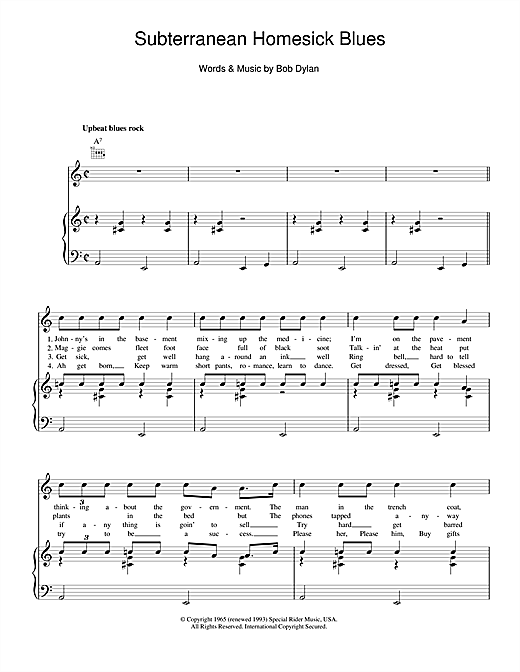 Subterranean Homesick Blues Sheet Music