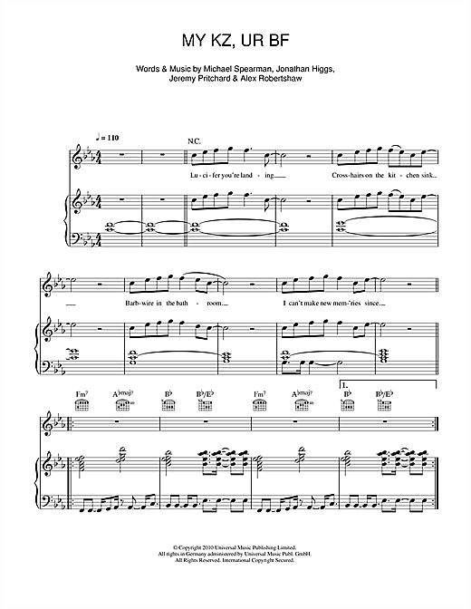 MY KZ UR BF Sheet Music By Everything Everything Piano Vocal - Michael in the bathroom piano