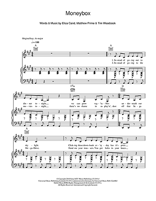 Moneybox Sheet Music