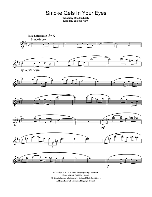 Smoke Gets In Your Eyes Sheet Music