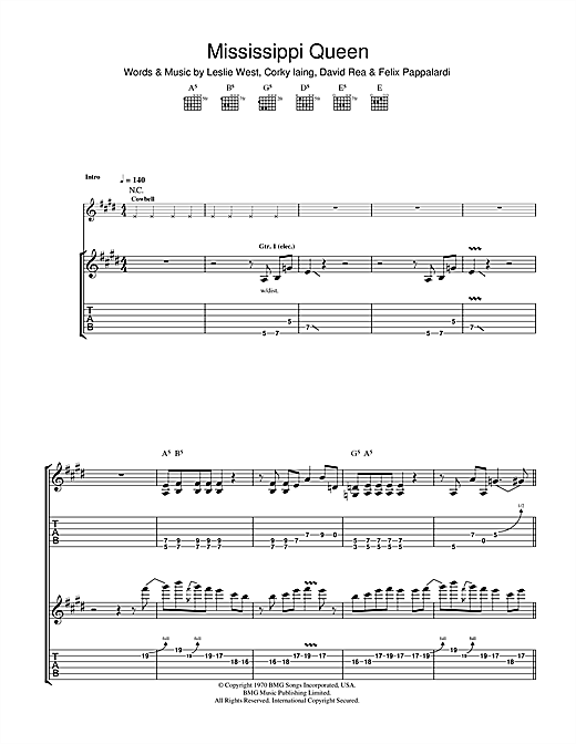 Mississippi Queen (Guitar Tab)