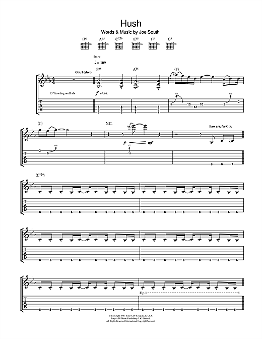 Tablature guitare Hush de Deep Purple - Tablature Guitare