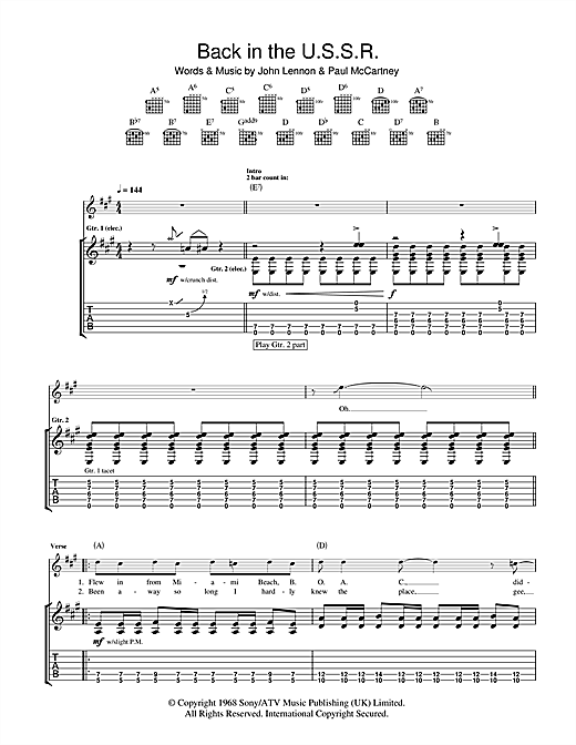Guitar guitar tabs back in black : Back In The USSR Guitar Tab by The Beatles (Guitar Tab – 103744)