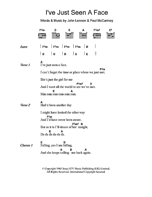 Ive Just Seen A Face Sheet Music By The Beatles Lyrics Chords