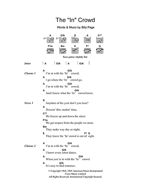 "The ""In"" Crowd (Guitar Chords/Lyrics)"