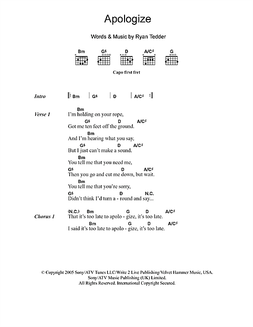 Apologize Sheet Music By Onerepublic Lyrics Chords 103758