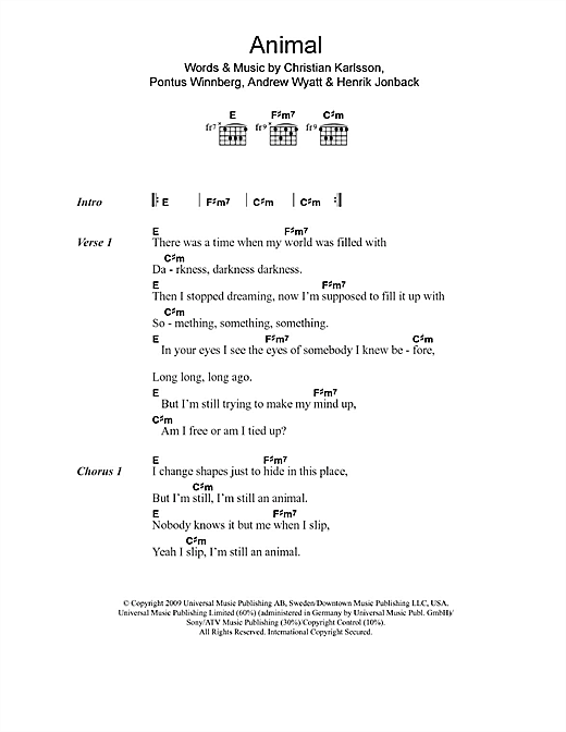 Animal (Guitar Chords/Lyrics)