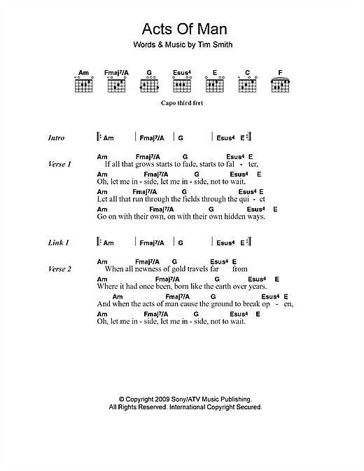 Acts Of Man (Guitar Chords/Lyrics)