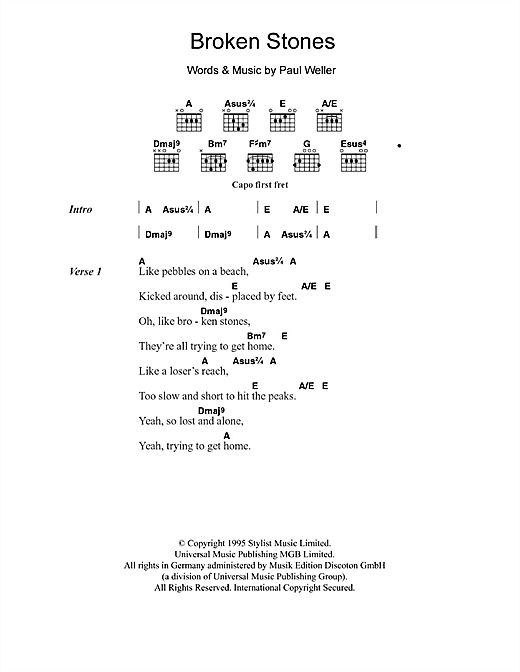 Broken Stones (Guitar Chords/Lyrics)