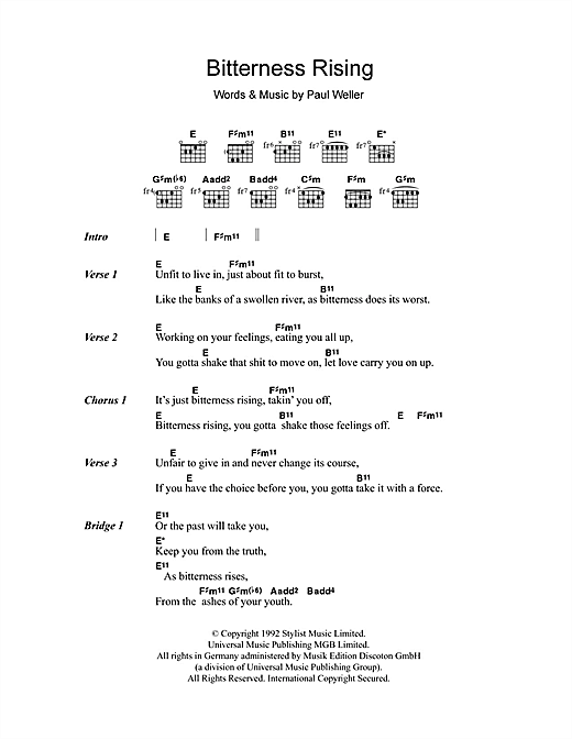 Bitterness Rising Sheet Music
