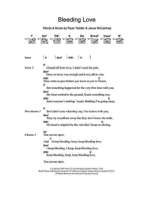 Bleeding Love (Guitar Chords/Lyrics)
