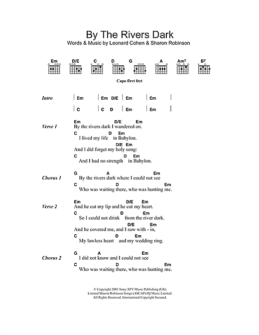 By The Rivers Dark Sheet Music By Leonard Cohen Lyrics Chords