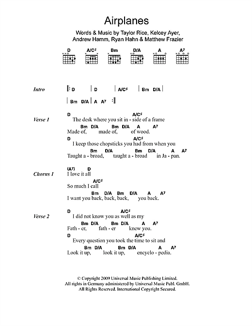 Airplanes Sheet Music