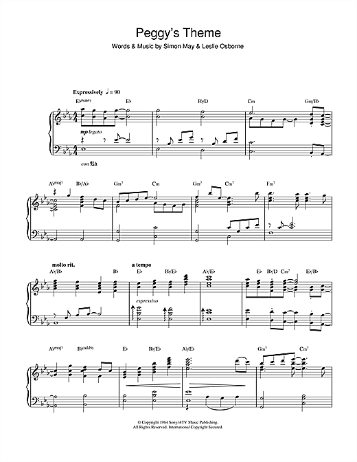 Peggy's Theme (Variation Of Julia's Theme From Eastenders) Sheet Music
