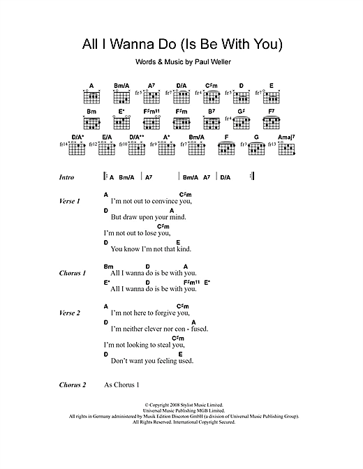 All I Wanna Do (Is Be With You) (Guitar Chords/Lyrics)