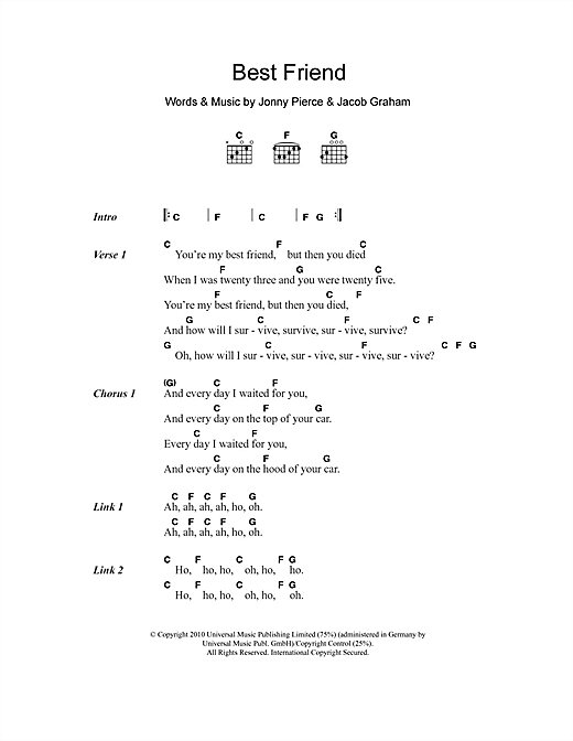 Best Friend Sheet Music By The Drums Lyrics Chords 103823