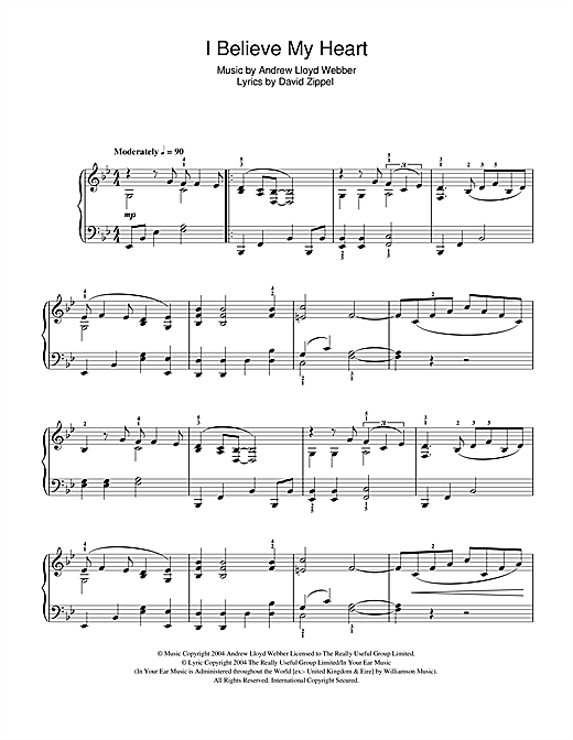 I Believe My Heart (from The Woman In White) Sheet Music