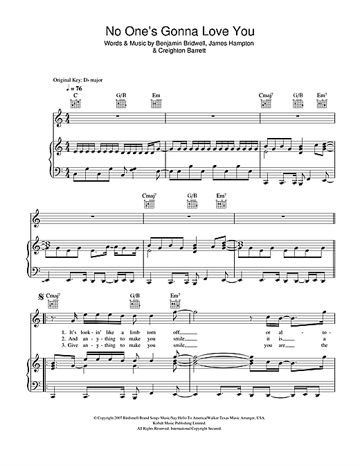 No One's Gonna Love You Sheet Music